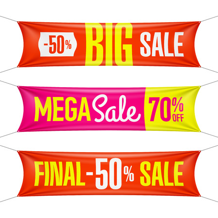 super market: Big super, final, mega sale vinyl banners