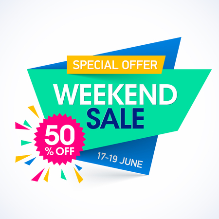 50  off: Weekend super sale special offer banner, up to 50% off