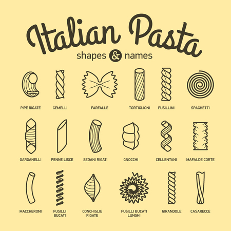 Italian Pasta, shapes and names collection, part 1 Vector Illustration