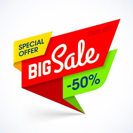 Bandera de la venta grande. oferta especial, hasta un 50% de descuento