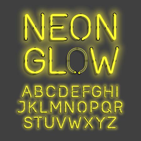 lueur au néon alphabet Vecteurs