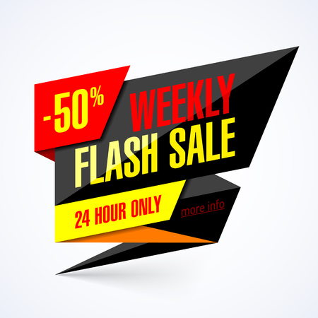 Weekly Flash Sale banner. 24 hour only special offer, up to 50% off