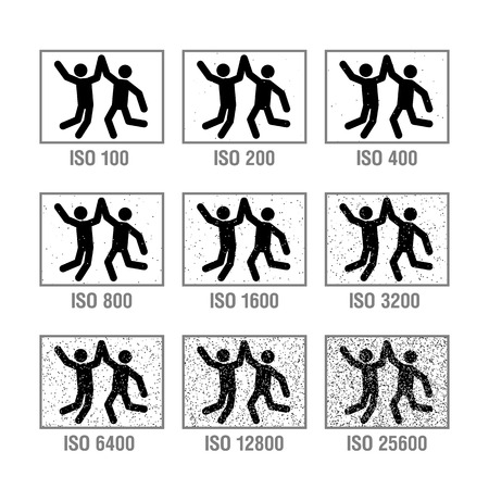 Photography cheat sheet in icons, ISO