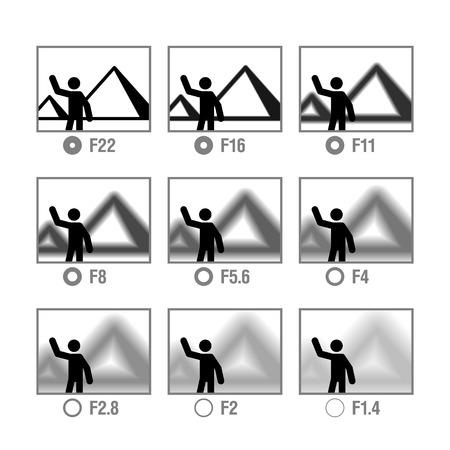 macchina fotografica: Fotografia foglietto nelle icone, Aperture Vettoriali