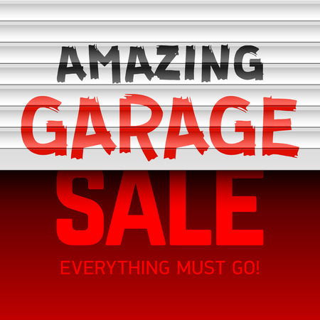 rolling garage door: Amazing Garage Sale poster template Illustration