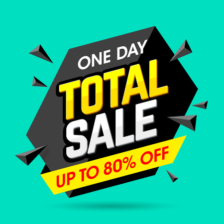 total: One Day Total Sale banner, poster background. Big sale, special offer, discounts, up to 80% off Illustration