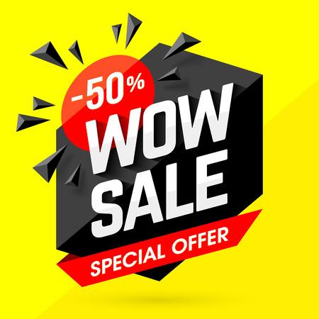 Wow vendita speciale striscione offerta. Manifesto di vendita. Grande vendita, offerta speciale, sconti, il 50% di sconto