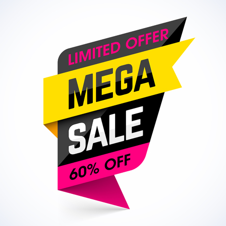 Limited Offer Mega Sale banner. Sale poster. Big sale, special offer, discounts, 60% off Illustration