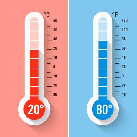 Celsius und Fahrenheit-Thermometer Standard-Bild - 57317495