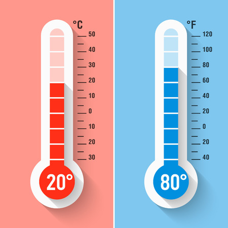 termómetro: Celsius y Fahrenheit termómetros Vectores