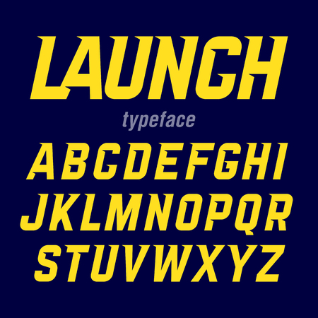Launch typeface, modern bold industrial style font with movement