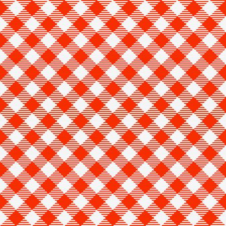 赤と白いシームレスな市松模様テーブル クロス。伝統的なギンガム チェック パターン、市松模様のファブリック、テーブル クロスのテクスチャ