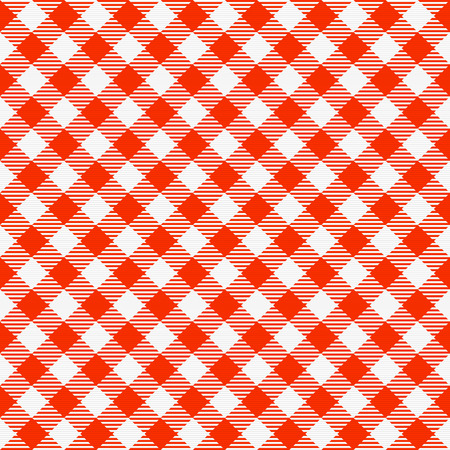 chequered drapery: Red and white seamless checkered tablecloth. Traditional gingham pattern, checkered fabric, tablecloth texture
