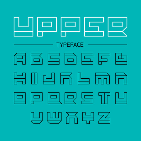 Upper typeface, geometrical linear outline font