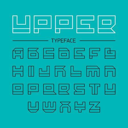 Upper typeface, geometrical linear outline font