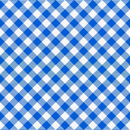 青と白シームレスな市松模様テーブル クロス。伝統的なギンガム チェック パターン、市松模様のファブリック、テーブル クロスのテクスチャ