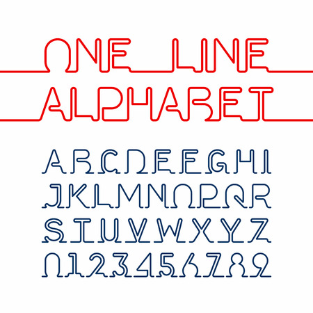 One line alphabet and numbers. One single continuous line font Vettoriali
