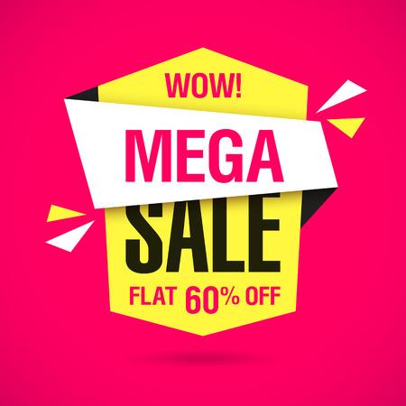 rebate: Wow, Mega Sale banner. Special offer, big super sale, flat 60% off. Illustration