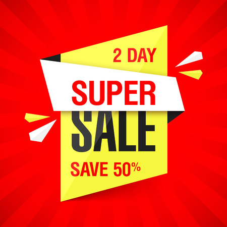 special offer: Two Day Super Sale banner. Save up to 50%. Marketing special offer. Sale sign, template, background.