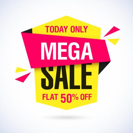 今日だけでメガ売却バナー。大きなスーパー セール、フラット 50% オフ。