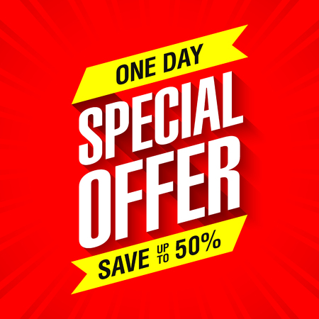 One day special offer sale banner. Save up to 50%.
