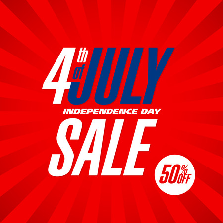 discount banner: Fourth of July USA Independence day sale banner design template