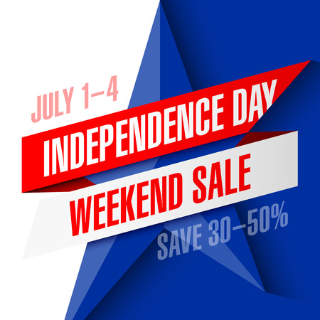 ribbon: Independence Day Weekend Sale banner design template Illustration