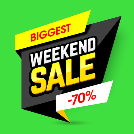 discount banner: Biggest Weekend Sale poster. Special weekend offer, up to 70% off
