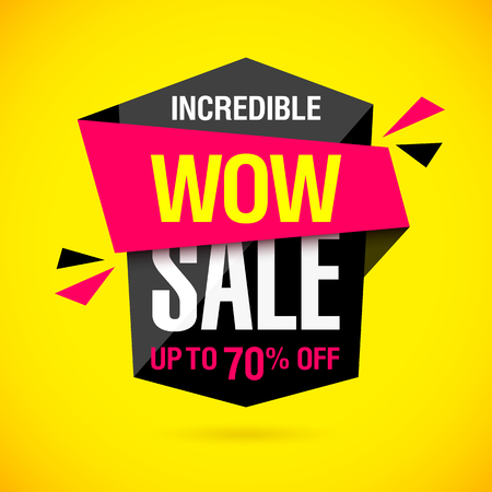discount banner: Incredible Wow Sale banner design template. Big super sale special offer, save up to 50% off Illustration