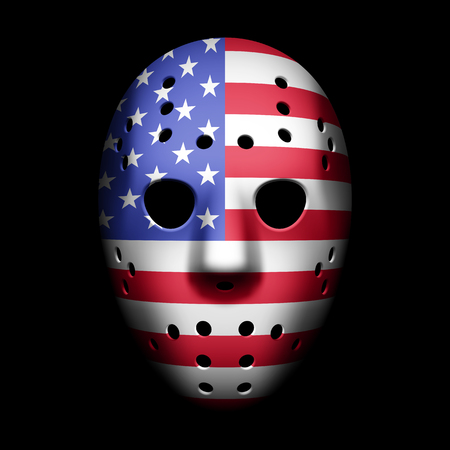 goalie: Vintage Goalie Mask with USA flag