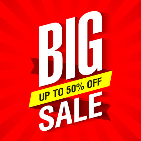 Big Sale banner design template up to 50% off