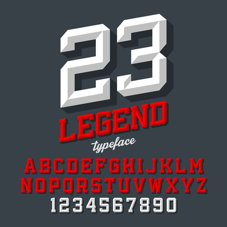 Legend Schrift. Abgeschrägte Sport Retro-Stil Schriftart. Buchstaben und Zahlen. Standard-Bild - 58649874