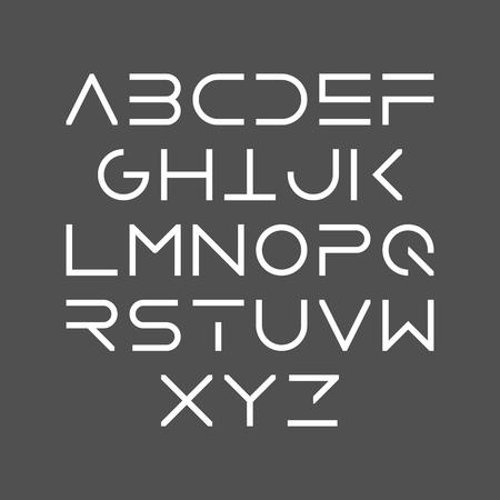 Cienka linia pogrubiona wielkie litery w stylu nowoczesnym krojem czcionki, minimalistycznym stylu. Łacińskie litery alfabetu.