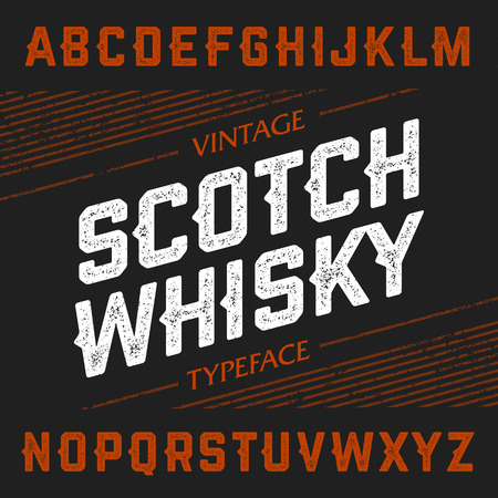 scotch whisky: Vintage Scotch Whisky typeface. Ideal font for any design in vintage style.