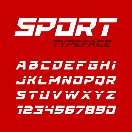 dynamic trend: Sport style typeface. Ideal for headlines, titles or posters. Italic letters and numbers. Illustration