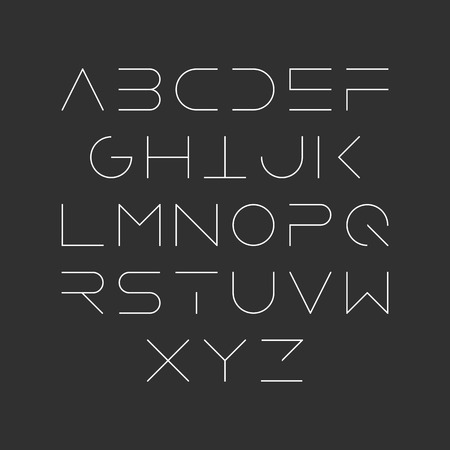 Extra dünne Linie Stil, linear Groß moderne Schrift, Schrift, minimalistischen Stil. Lateinischen Buchstaben des Alphabets. Vektorgrafik