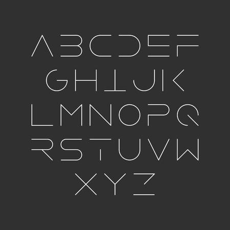 un diseño extra fina línea, tipo de letra mayúscula moderna lineal, tipo de letra, el estilo minimalista. letras del alfabeto latino. Ilustración de vector