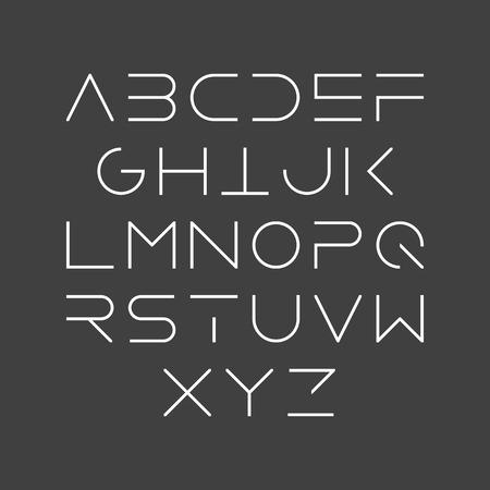 얇은 선 스타일, 선형 대문자 현대 폰트, 서체, 미니멀 한 스타일. 라틴 알파벳 문자.