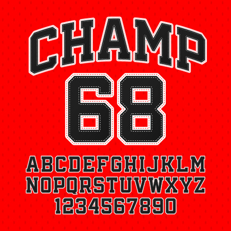 능 직물 스타일 챔프 서체 태클. 자수 스포츠 글꼴입니다. 문자 및 숫자. 일러스트