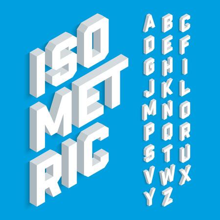 Bianco carattere 3d isometrico, lettere dell'alfabeto tridimensionali.