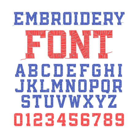 Embroidery font, letters and numbers
