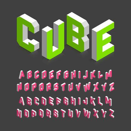 Isométrica de la fuente 3d, letras del alfabeto en tres dimensiones. Ilustración de vector