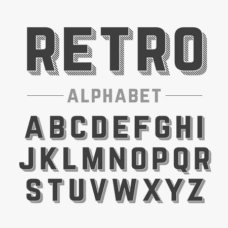 upper case: Retro style alphabet Illustration