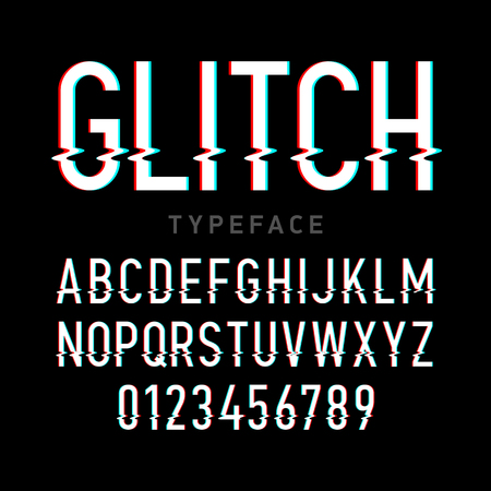 screen type: Glitch typeface. Letters and numbers.