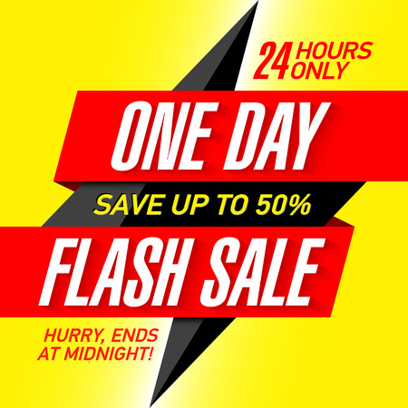 One Day Flash Sale banner design template Illustration