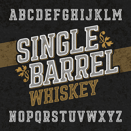 bourbon: Single barrel whiskey label font with sample design. Ideal for any labels design in vintage style such as whiskey, absinthe, scotch, gin, rum or bourbon Illustration
