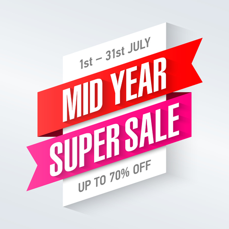 sizzling: Mid Year Super Sale special offer poster Illustration