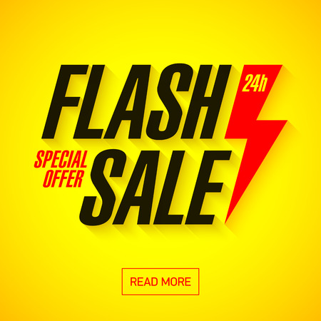 Flash Sale banner. 24 hours only, special offer. Imagens - 60057125