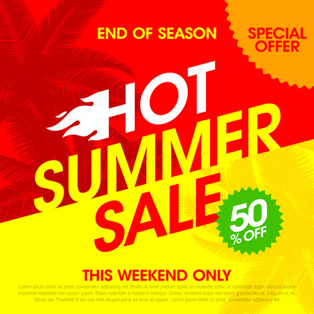 hot summer: Hot Summer Sale banner design template