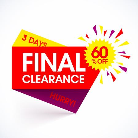 Venta de separación plantilla de diseño de la bandera de papel final. oferta especial, prisa, solamente 3 días, ahorrar hasta un 60%